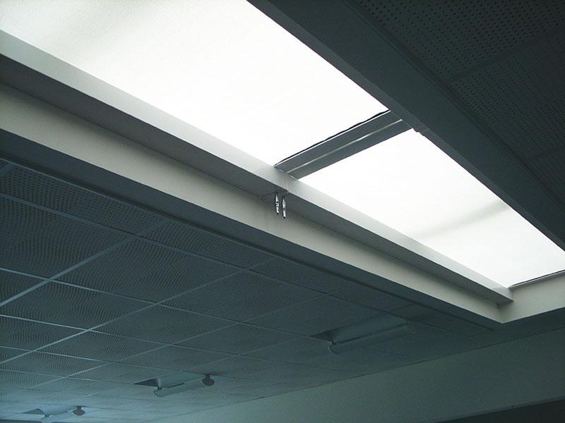 Linea 500DB Double Headbox Roof Blind, Guernsey School, RG Falla